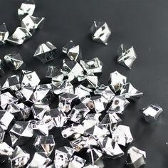 Metallic Silver Acrylic Crushed Ice Decorative Gems - 3 Cups