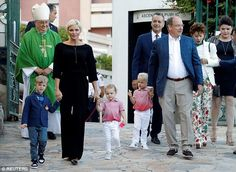 The royal couple were seen walking hand in hand with the adorable Prince Jacques and Princess Gabriella yesterday evening at the Princess Antoinette park. Princess Charlene is pictured holding the hand ofMelchior (dressed in blue), son ofJean Leonard de Massy