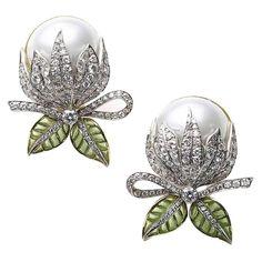 Mabe Pearl Plique à Jour Enamel Bud Flower Earrings | From a unique collection of vintage drop earrings at https://www.1stdibs.com/jewelry/earrings/drop-earrings/