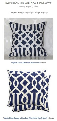 COPY CAT CHIC FIND: Imperial Trellis Decorative Pillow in Navy VS Target's Home Outdoor 2-Piece Toss Pillow Set in Blue Fretwork