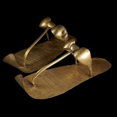 TUTANKHAMUN'S GOLDEN SANDALS  Created specifically for the afterlife, they still covered the feet of Tutankhamun when Howard Carter unwrapped the mummy. © SANDRO VANNINI.