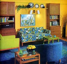 1970 Living Room. I LOVE the couch.