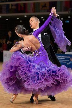 Ballroom Fashion. Those purple ruffles! #ballroom #dancesport #dance