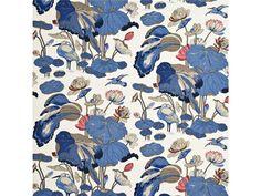 G P & J Baker Nympheus - Linen Indigo/Marine/Linen Fabric Linen Upholstery Fabric, Drapery Fabric, Curtains, Indigo, Gp&j Baker, Mulberry Home, Coral Fabric, Orange Fabric, Pose