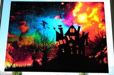 """Halloween Window Cling ~ Stained Glass Color ~ Haunted House & Witch ~ Graveyard ~ Cat ~ Stars ~ Size 11"""" or 15"""" by WindowClingsGalore on Etsy"""