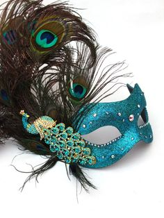 peacock venetian mask | Luxury Diamante Crystal Peacock Feather Venetian Mask- Masque Boutique
