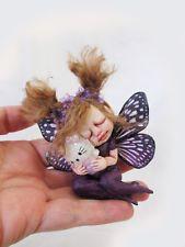 "OOAK Miniature Baby Fairy ""Kitty"" ~ Handmade Sculpture by Michele Roy"