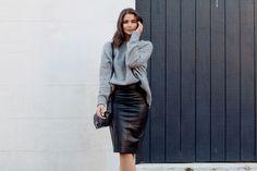 black leather skirt + knit
