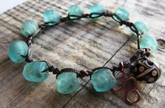 African Recycled Glass Bracelet - Crochet Artisan Jewelry - Upcycled Glass beads, Elegant, Tribal and Eco Friendly, $42.00
