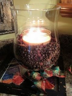 Coffee beans in candle holder