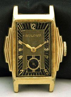 1930s-BULOVA-Mens-WATCH-UNIQUE-Black-Dial-GOLD-F-Art-Deco-Case-10AE-15J-RUNS-VTG..