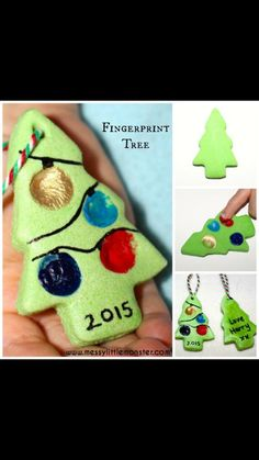 Make a fingerprint Christmas tree craft using our easy salt dough ornament recipe! This finger print salt dough craft is so fun and easy to make and the Christmas ornaments look fantastic hanging on the tree. Christmas Decorations For Kids, Preschool Christmas, Christmas Tree Ornaments, Holiday Fun, Christmas Time, Christmas Gifts, Christmas Crafts For Preschoolers, Dough Ornaments, Childrens Christmas Crafts