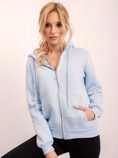 Modrá dámska mikina s kapucňou a zipsom Hooded Jacket, Athletic, Jackets, Fashion, Hooded Bomber Jacket, Down Jackets, Jacket With Hoodie, Moda, Athlete