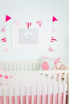 mint and pink baby girl's nursery