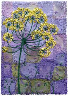 Fennel Blossoms 4 by Kirsten's Fabric Art,Complementary yellow and violet/purple. Embroidery Applique, Beaded Embroidery, Embroidery Stitches, Machine Embroidery, Textile Fiber Art, Textile Artists, Design Textile, Fabric Postcards, Flower Quilts