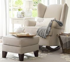 Shop rocking chair from Pottery Barn Kids. Find expertly crafted kids and baby furniture, decor and accessories, including a variety of rocking chair. Pottery Barn Kids, Pottery Barn Nursery, Chair And Ottoman, Upholstered Chairs, Wingback Chair, Rocking Chair Nursery, Nursery Rocker, Rockers For Nursery, Nursing Chair