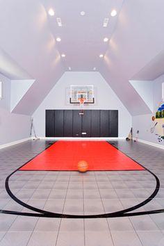 An indoor basketball court.