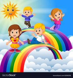 Happy kids standing over the rainbow vector image on VectorStock Fun Diy Crafts, Craft Stick Crafts, Book Crafts, Crafts For Kids, Class Decoration, School Decorations, Audio Books For Kids, Teacher Cartoon, Kids Book Club