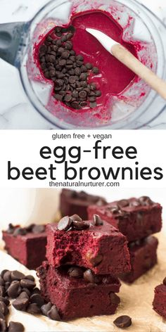 These vegan fudgy gluten free brownies and not only chocolatey easy and delicious but are loaded with a secret healthy ingredient: beets! Healthy simple to make and the perfect healthy treat. Brownie Sans Gluten, Vegan Gluten Free Brownies, Gluten Free Vegan, Healthy Vegan Brownies, Gluten Free Chocolate, Healthy Dessert Recipes, Whole Food Recipes, Vegan Recipes, Snack Recipes