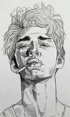 Art Drawings Sketches Simple, Pencil Art Drawings, Portrait Sketches, Sketches Of Boys, Portrait Art, Black Pen Sketches, Pencil Portrait Drawing, Boy Sketch, Realistic Drawings