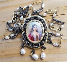 ESTATE 18k Yellow Gold & Silver Diamond Miniature Portrait Pendant & Pearl Chain #Pendant
