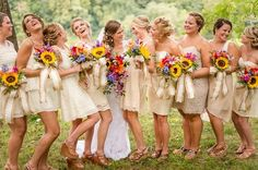 Wolfcrest Photography - Virginia Photographers - Gold bridesmaids dresses and sunflower bouquets Women, Men and Kids Outfit Ideas on our website at 7ootd.com #ootd #7ootd