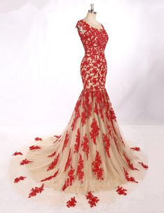Elegant Long Evening Gowns Sexy Backless Red Lace Appliques Long Mermaid Evening Dress Robe De Soiree Longue Abendkleider