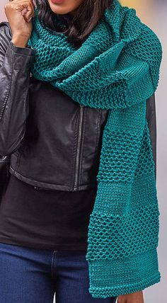 Free Knitting Pattern for Easy Textured Stripes Super Scarf - Easy oversized cozy scarf knit in sections of slipped stitch texture alternating with stockinette. Quick knit in chunky yarn. Designed by Christine Marie Chen for Red Heart. by elena Easy Scarf Knitting Patterns, Crochet Scarf Easy, Crochet Stitches Patterns, Easy Knitting, Knitting Designs, Knit Crochet, Knitting Scarves, Quick Knitting Projects, Easy Patterns