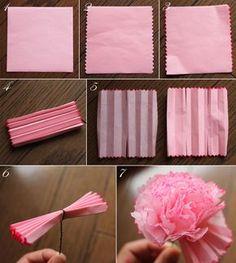 $Fleurs de Papier ~クラフトパンチや花紙で作る立体のお花いろいろ~-お花紙のカーネーション