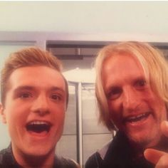 """86 Likes, 2 Comments - Hunger Games & Harry Potter (@thgquotes12) on Instagram: """"New BTS pictures of #cathingfire posted by makeup artist. #JoshHutcherson #WoodyHarrelson"""""""