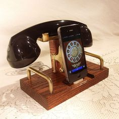 iPhone Dock Oak Charger with old timey handset.  Retro elegance.
