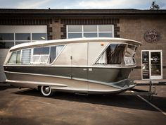 """Vintage Travel Glamorous vintage camper is your midcentury dream home on wheels - Meet the """"Trailer for the rich,"""" a restored, limited production camper. Vintage Trailers For Sale, Vintage Campers Trailers, Retro Campers, Camper Trailers, Vintage Motorhome, Retro Caravan, Tiny Trailers, Vintage Caravans, Vintage Rv For Sale"""