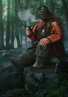 m Dwarf Ranger Med Armor Cloak Pipe Conifer Forest Trail hills rocks Fantasy art,dwarf,Giorgio Donato Fantasy Dwarf, Fantasy Rpg, Medieval Fantasy, Fantasy Races, High Fantasy, D D Characters, Fantasy Characters, Fantasy Character Design, Character Art