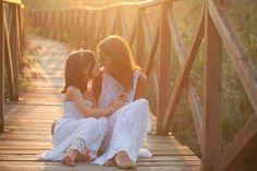 mother daughter bohemian photoshoot on bridge