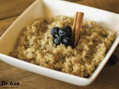 Quinoa Porridge Quinoa is a special grain that is not only gluten free, but also high in protein! Try this quinoa porridge to start your day off  right! Quinoa Porridge Recipe Total Time: 40 minutes Serves: 2 Ingredients:      1/2 cup, Quinoa     1/4 tsp. Cinnamon     1 1/2 cup, coconut milk     1/2 cup, Water     2 Tbsp. honey     1 tsp. Vanilla Extract     Pinch of Sea Salt