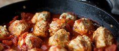 Paleo Turkey-Bacon Meatballs with Tomato Sauce