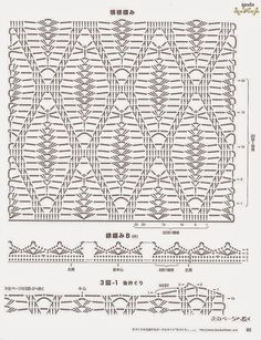 Crochet everything. Crochet Stitches Chart, Crochet Diagram, Filet Crochet, Crochet Motif, Stitch Patterns, Knitting Patterns, Crochet Patterns, Crochet Bedspread, Pineapple Crochet