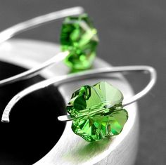 Shamrock Earrings Lucky Green Four Leaf Clover by GreenRibbonGems, $16.00