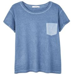 Mango Pocket Cotton T-Shirt, Medium Blue ($23) ❤ liked on Polyvore featuring tops, t-shirts, shirts, relax t shirt, blue t shirt, short sleeve shirts, short-sleeve shirt and cotton shirts