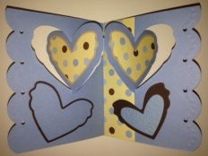 Pivot card with blues and browns used here for thank you card. Change the colors and patterned paper for a valentine/love you card.