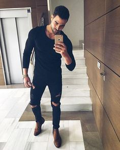 Slim Fit Ripped Jeans Men Hi-Street Mens Joggers Destroyed Jeans Urban Fashion, Boy Fashion, Street Fashion, Fashion Outfits, Trendy Mens Fashion, Fashion Trends, Outfits Casual, Mode Outfits, Slim Fit Ripped Jeans