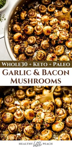 My Garlic and Bacon Mushrooms are so full of flavor. They are tossed with sauteed garlic, shallots, crispy bacon and ghee and finished with parsley, along with salt and pepper to taste. Whole30, Keto, Paleo and Gluten Free. #whole30 #keto #glutenfree #garlicmushrooms #garlicandbaconmushrooms #mushrooms #mushroomrecipes #sidedishes #sidedishrecipes Kitchen Recipes, Paleo Recipes, Cooking Recipes, Bacon Recipes, Easy Cooking, Veggie Recipes, Healthy Cooking, Lunch Recipes, Healthy Snacks