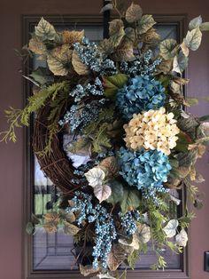 Summer Wreath Spring Wreath Front Door Wreath by DaydreamWreaths Silk Flower Wreaths, Hydrangea Wreath, Floral Wreath, Blue Hydrangea, Spring Front Door Wreaths, Fall Wreaths, Christmas Wreaths, Turquoise Wreath, Berry Wreath