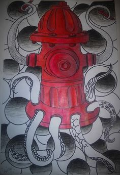 Fire Hydrant Drawing: Charcoal, Pencil colors, and Sharpie