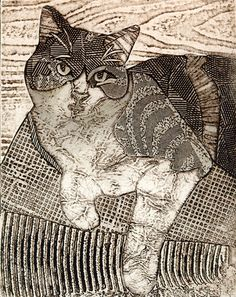 Musica #5 (Collagraph of Calico Cat) by Bonnie Murray Art, via Flickr