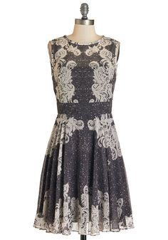 Self-Taught Stylista Dress. Style magazines are your textbooks and runway shows are your inspiration, so flaunt your chic smarts in this lace-printed dress! #gold #prom #modcloth