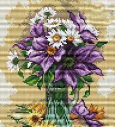 Vazoda Çiçek Kanaviçe Örnekleri (1)