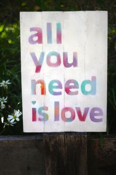 Reclaimed timber sign 'all you need is love' Comes with wall hanging or looks great leaning against a wall on a shelf Size is 42cm high by 29cm wide Only one available.