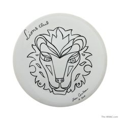 "White glazed ceramic plate depicting a lion head by Jean Cocteau (1889-1963).  Signed and marked on reverse side, Limoges, France, circa 1958. Diameter: 9-1/2"" #Ceramic #Limoges #JeanCocteau http://www.the-maac.com/leah-gordon?id=67&tid=3598"