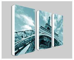 "Teal Eiffel Tower Split Frame Canvas Print 3x 40""x20"": Amazon.co.uk: Kitchen & Home"